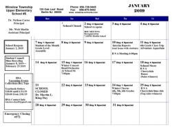 JANUARY 2018 CALENDAR OF EVENTS